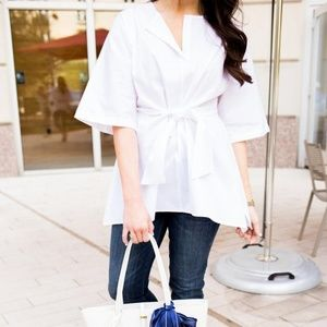 Natori white short sleeve blouse tie waist belt